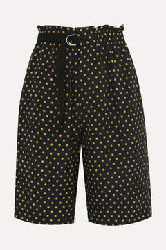 Joseph Luis Polka-dot Silk-georgette Shorts - Midnight blue