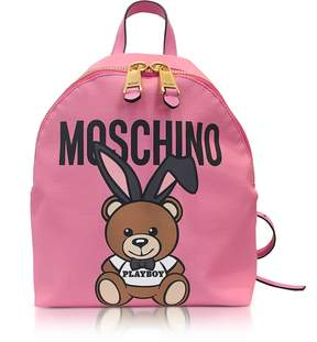 Moschino Teddy Playboy Pink Print Eco Leather Backpack w/Logo