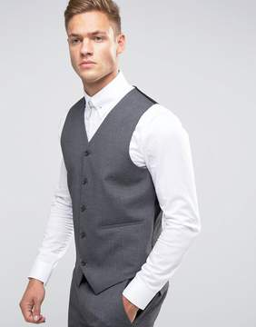 Asos Skinny Vest In Charcoal