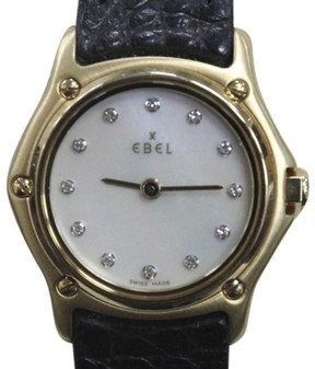 Ebel Classic Wave 8157111 18K Yellow Gold / Leather 25mm Womens Watch