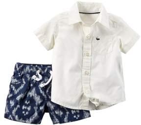 Carter's Infant Boys 2 Piece Ivory Shirt & Short Set 3m