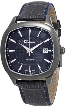 Salvatore Ferragamo Time Automatic Blue-Grey Dial Men's Leather Watch