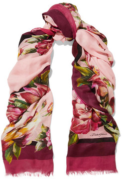 Dolce & Gabbana Floral-print Modal And Cashmere-blend Gauze Scarf - Pink