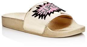 Steve Madden Girls' Grltalk Super Star Metallic Appliqué Slide Sandals - Little Kid, Big Kid