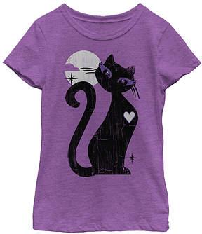 Fifth Sun Purple Berry Black Cat Tee - Girls