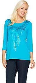 Bob Mackie Bob Mackie's 3/4 Sleeve Matte Sequin Front KnitTop
