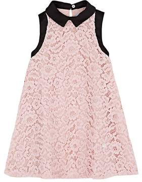 Lanvin KIDS' SATIN-COLLAR FLORAL-LACE SHIFT DRESS