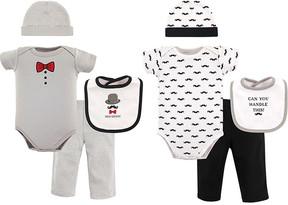 Hudson Baby Gray & Red Bow Tie & Chevron Bodysuit - Set of Eight
