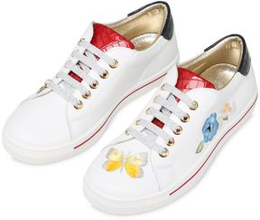 MonnaLisa Embroidered Nappa Leather Sneakers