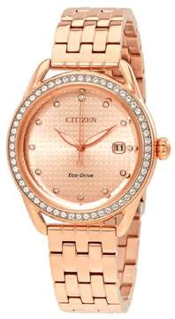 Citizen LTR Rose Gold-tone Ladies Crystal Watch FE6113-57X