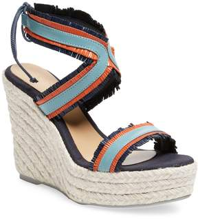 Manebi Women's Leather Espadrille Wedge Sandal
