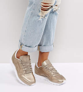 Reebok Classic Leather Metallic Sneakers In Antique Gold