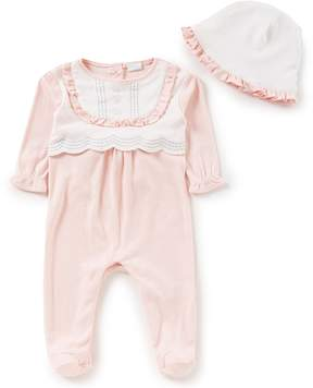 Edgehill Collection Baby Girls Newborn-6 Months Scalloped-Yoke Footed Coverall & Hat Set