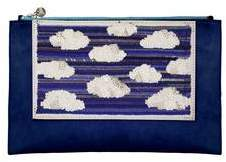 Forest of Chintz Silver Lining Leather Clutch