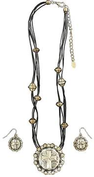 Ariat Silvertone Round Cross Pendant Necklace & Earrings Set