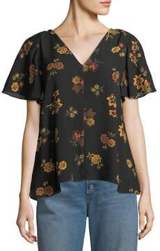 A.L.C. Clara V-Neck Floral-Print Silk Top