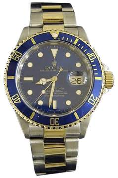 Rolex Submariner 16613 18K Yellow Gold & Stainless Steel Blue Dial Date 40mm Mens Watch