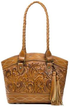 Patricia Nash Burnished Tooled Collection Zorita Tasseled Colorblock Satchel