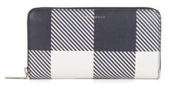 HUGO BOSS Checked Leather Wallet Soft Ziparound V One SizeBlue