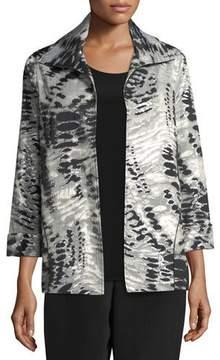 Caroline Rose Abstract Animal-Print Jacket, Petite
