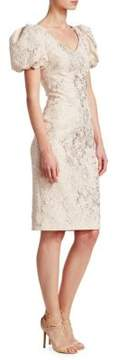 Theia Puffed-Sleeve Jacquard Dress