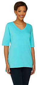 Denim & Co. Perfect Jersey Elbow Sleeve Top w/High-low Hem