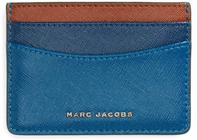 Marc Jacobs Women's Color Block Saffiano Leather Card Case - Blue