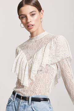 Forever 21 Sheer Lace Flounce Top