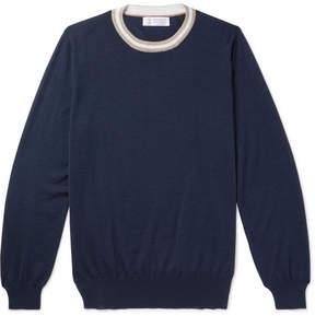 Brunello Cucinelli Stripe-Trimmed Cashmere And Silk-Blend Sweater
