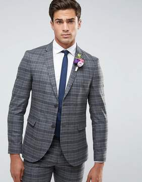 Jack and Jones Slim Wedding Suit Jacket in Check