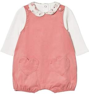 Absorba Cream Tee with Floral Collar and Pink Micro Cord Dungarees with Heart Pockets