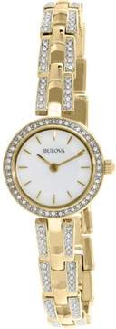 Bulova Women's Crystal Accent Gold-Tone Stainless Steel Bracelet Watch 23mm 98L213