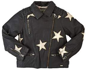 Scotch R'Belle Star-Appliquéd Leather Moto Jacket