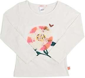 Billieblush Flower-Embroidered Cotton Long-Sleeve T-Shirt