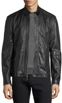 John Varvatos Leather Racer Jacket w/ Buckle Tab
