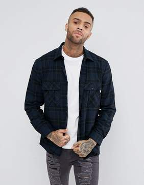 Jack Wills Dundry Flannel Check Shirt In Black/Navy