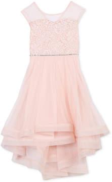 Speechless Big Girls Glitter Lace Illusion-Neck Dress