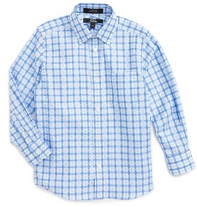 Nordstrom Boy's Kids Blue Haze Plaid Dress Shirt