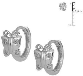 Ice Silver Butterfly Huggie Hoop Earrings For Girls