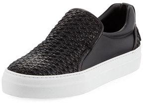 Buscemi 40mm Men's Woven Leather Slip-On Sneaker, Black