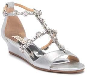 Badgley Mischka Terry II Crystal Embellished Leather Wedge Sandal