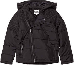 Karl Lagerfeld Black Quilted Biker Puffer Coat
