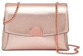 Ted Baker Safron Flip Clasp Exotic Snake Embossed Leather Crossbody Bag