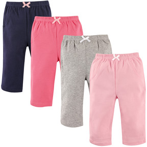 Luvable Friends Pink & Gray Bow Warm-Up Pants Set - Newborn & Infant
