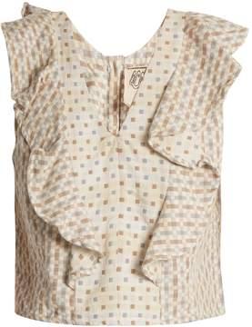 Ace&Jig Maggie V-neck geometric-jacquard cotton top