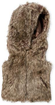 Urban Republic Girls 4-6x) Brown Faux Fur Hooded Vest