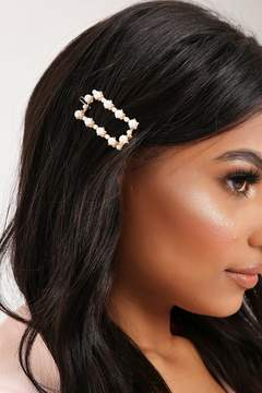 Isawitfirst Gold Square Pearl Hair Clip