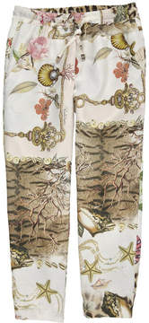 Roberto Cavalli Slim fit printed silk trousers