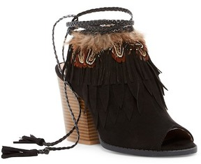 Qupid Barnes Feather Fringe Block Heel Sandal