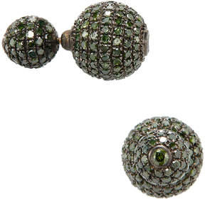 Artisan Women's Green Diamond Ball Earrings